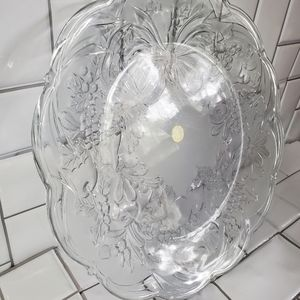 Large Heavy Oval Crystal Glass Platter 15inD Holl